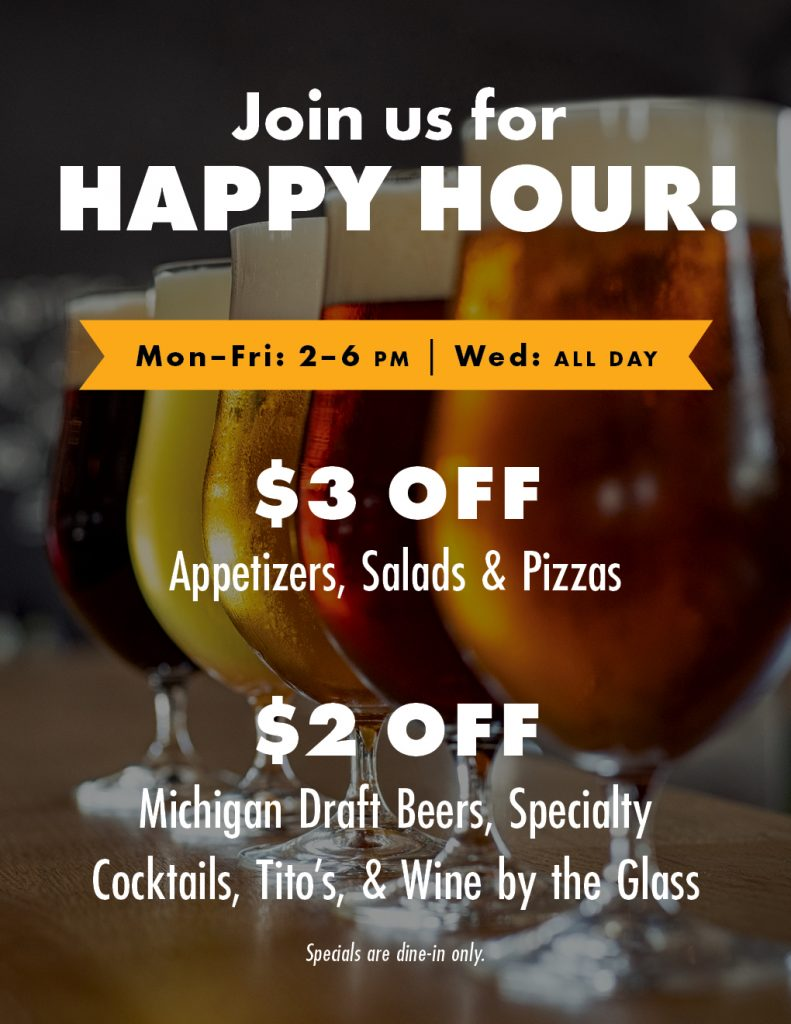 Gravity happy hour specials: Monday through Friday, 2–6 p.m. and all day Wednesday!